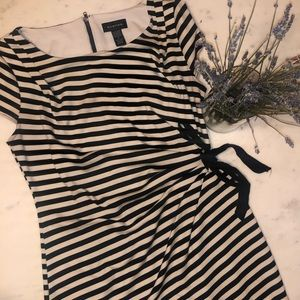 Black and white striped dress with ruching size 6